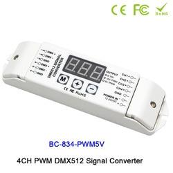 4CH DMX512 sterownik led kontrolera PWM 5 V/PWM 10V sygnału PWM DMX512 konwerter sygnału 3 cyfrowy wyświetlacz pokazuje DC12V DC24V w Ściemniacze od Lampy i oświetlenie na