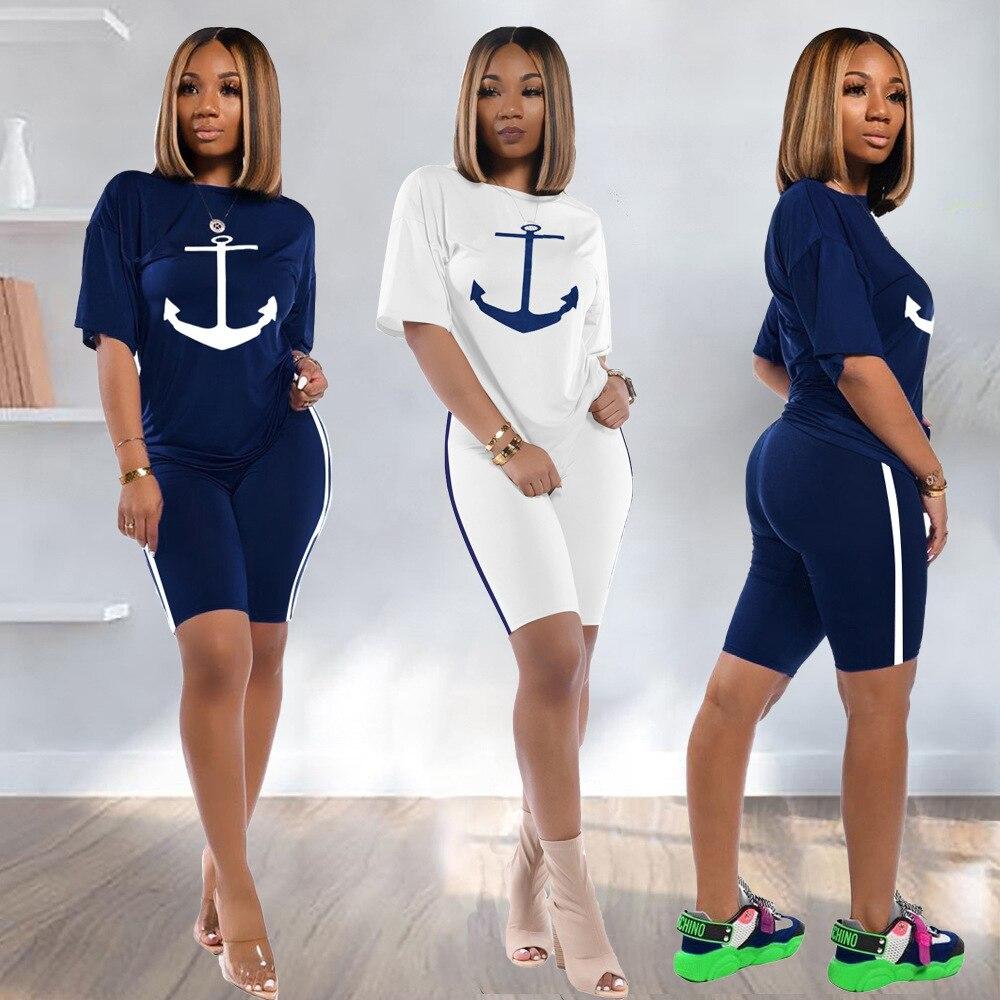 2020 Summer New Women's 2 Pieces Shorts Sets Boat Anchor Print T-shirt + Biker Shorts Outfits Elastic High Rise Shorts Suits Set