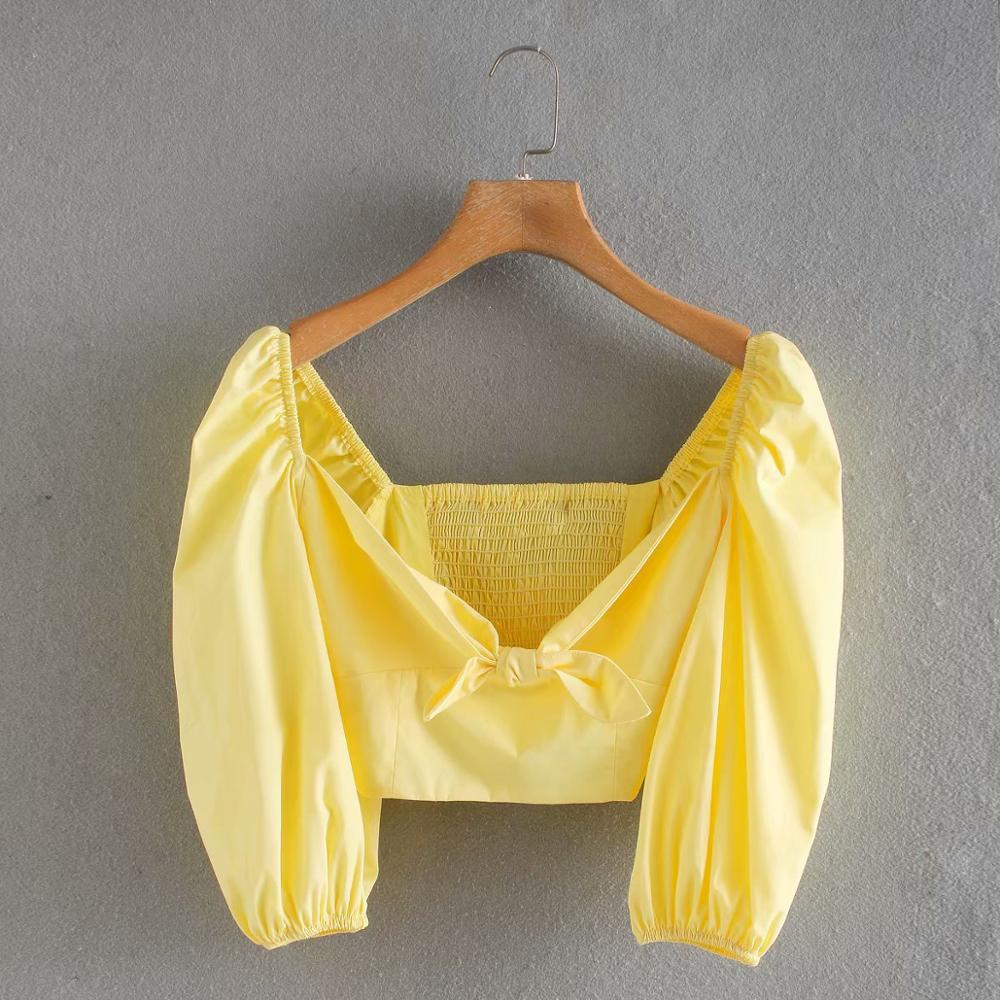 2020 New Fashion Women Sweet Bow Tied Yellow Short Shirt Office Lady Lantern Sleeve Casual Blouses Chic Back Elastic Tops LS6484