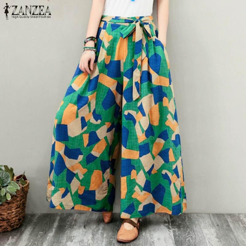 Summer   Wide     Leg     Pants   ZANZEA Women Vintage Geometric Printed Trousers Casual Lace Up Flare   Pants   Long Beach   Pants   Loose Pantalon