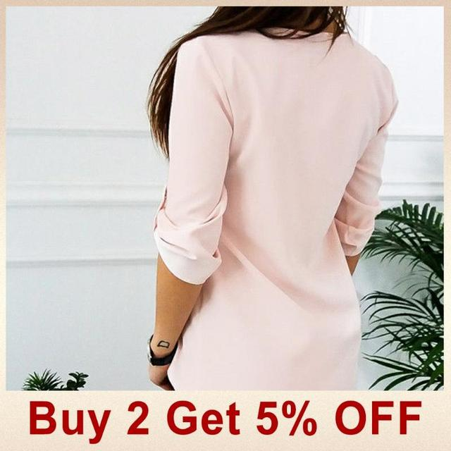 2019 Summer V Neck Zipper Roll Up Long Sleeves Loose Shirt Women Spring Summer Chiffon Blouse Top Blusa Feminina Plus Size 5XL 2