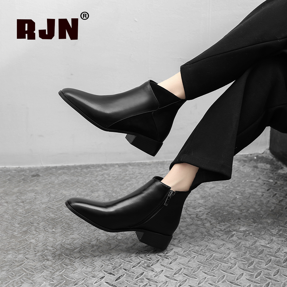 Hot Sale RJN Elegant Women Ankle Boots Stylish Mixed Color Cow Leather Comfortable Square Toe Med Heel Zipper Ladies Casual Shoes RO01
