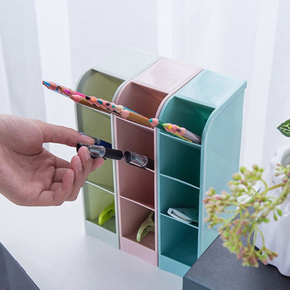 Creative four-grid storage rack can stand office stationery desktop storage box drawer finishing grid oblique insert pen 30O14 (8)