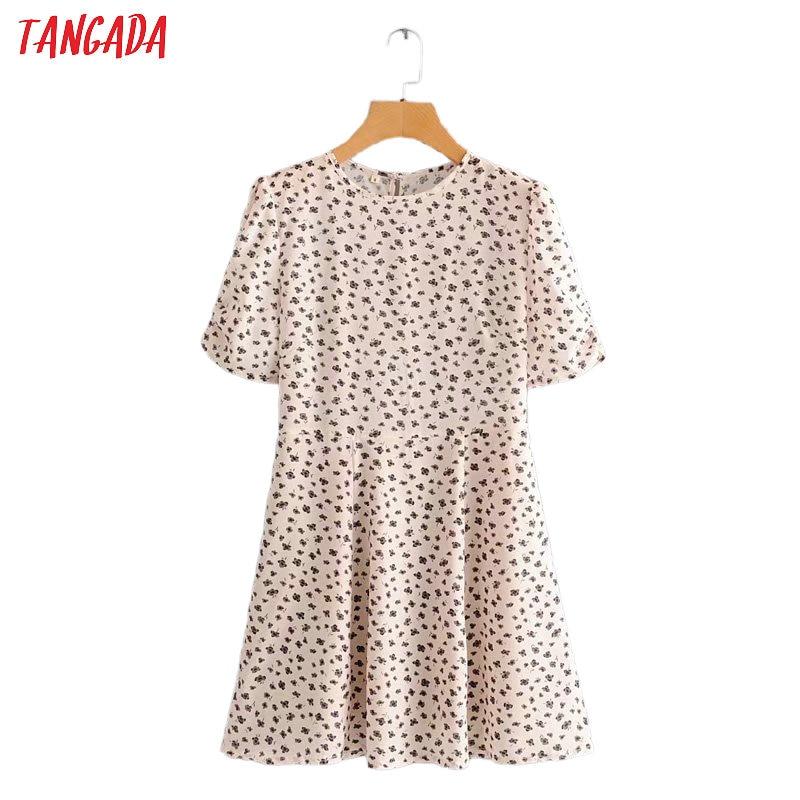 Tangada Fashion Women Flowers Print Mini Dress French Style 2020 Summer Ladies Vintage Short Dress Vestidos 2J15