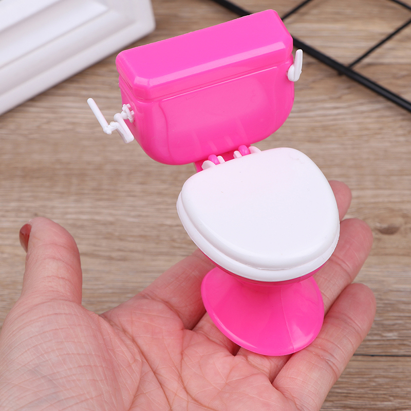 New Pink Dollhouse Furniture Vintage Bathroom Modeling Toilet Paper Doll House Miniature Baby Pretend Toys Dolls Accessories