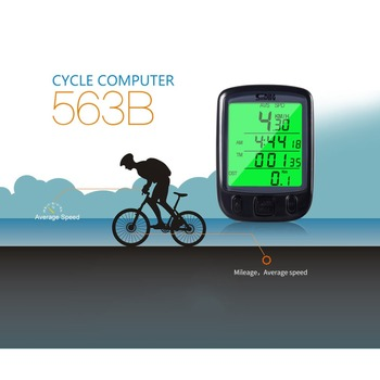 Digital Counter SD 563B Timer Switch Waterproof LCD Display Cycling Bicycle Computer Odometer Speedometer with Green Backlight