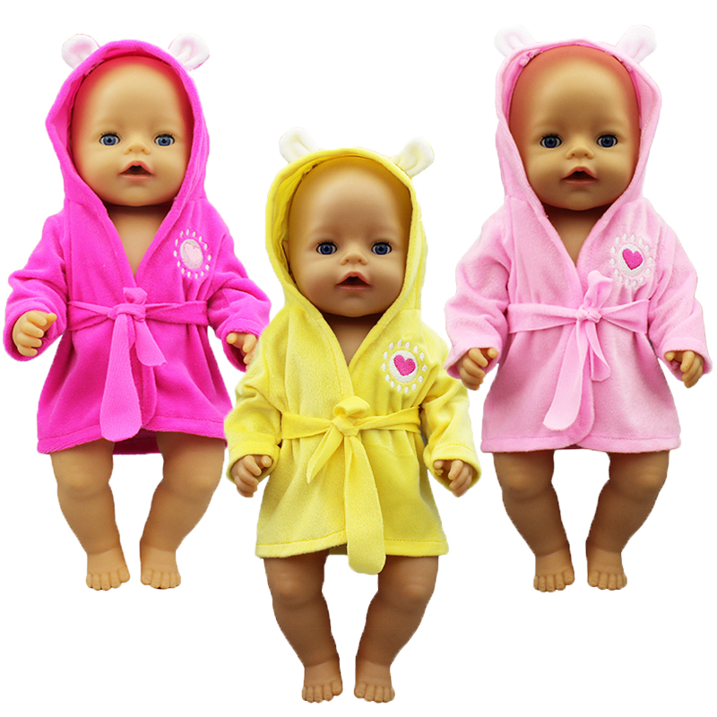 New bathrobe Doll Clothes Born Babiy Fit 17 inch 43cm Doll Accessories For Baby Festiival Gift
