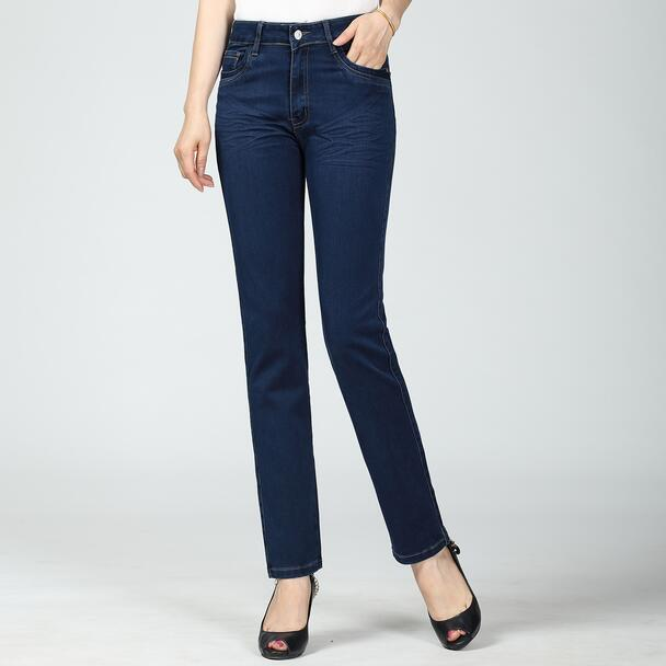 New 2020 Autumn Middle-aged Jeans Em8 Female  Trousers High Waist Slim Small Straight Pants FFWS02