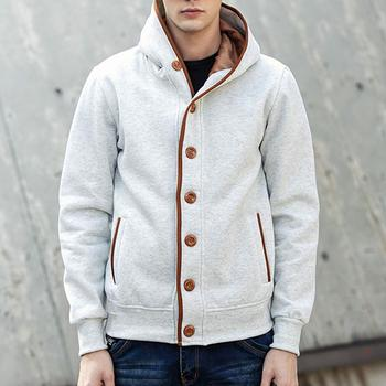 Men Sport Outdoor Jackets Oversize Windbreak Hooded Cycling Coat Casual Loose Solid Hooded Cardigan Outwear Buttons Tops image