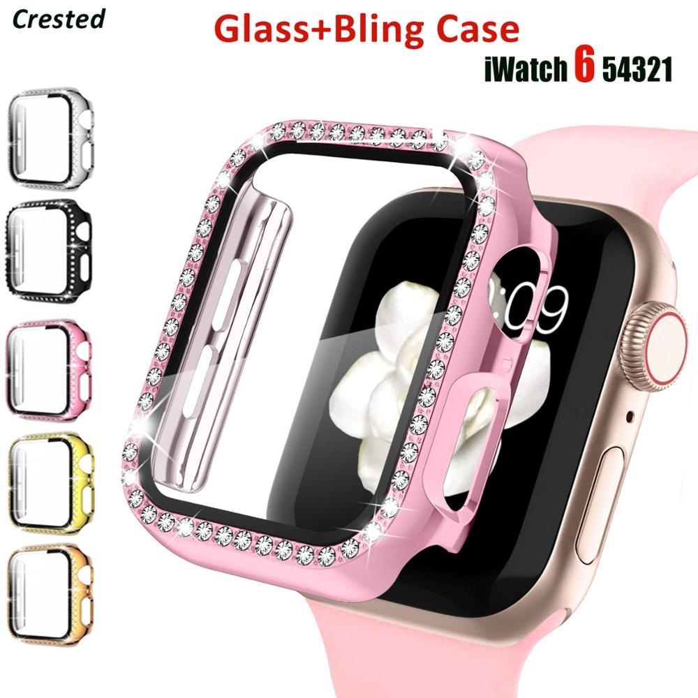Стекло и крышка для Apple Watch, чехол 44 мм 40 мм для iWatch 42 мм 38 мм, бампер, защита экрана, аксессуары для Apple Watch серии 5 4 3 SE 6