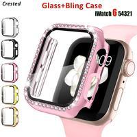 Protector de pantalla de cristal + cubierta para carcasa de reloj Apple, 44mm, 40mm, iWatch, 42mm, 38mm, accesorios para Apple Watch serie 5 4 3 SE 6