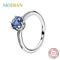Modian, новинка 2020, настоящее 925 пробы, серебро, циркон, модная Корона, кристалл, кольцо на палец для женщин, мощеное, обручальное, свадебное ювел...