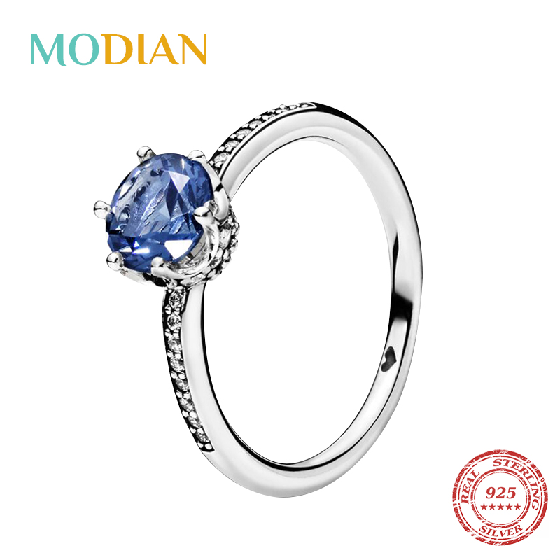 Modian 2020 New Real 925 Sterling Silver Zircon Fashion Crown Crystal Finger Ring For Women Paved Engagement Wedding Jewelry