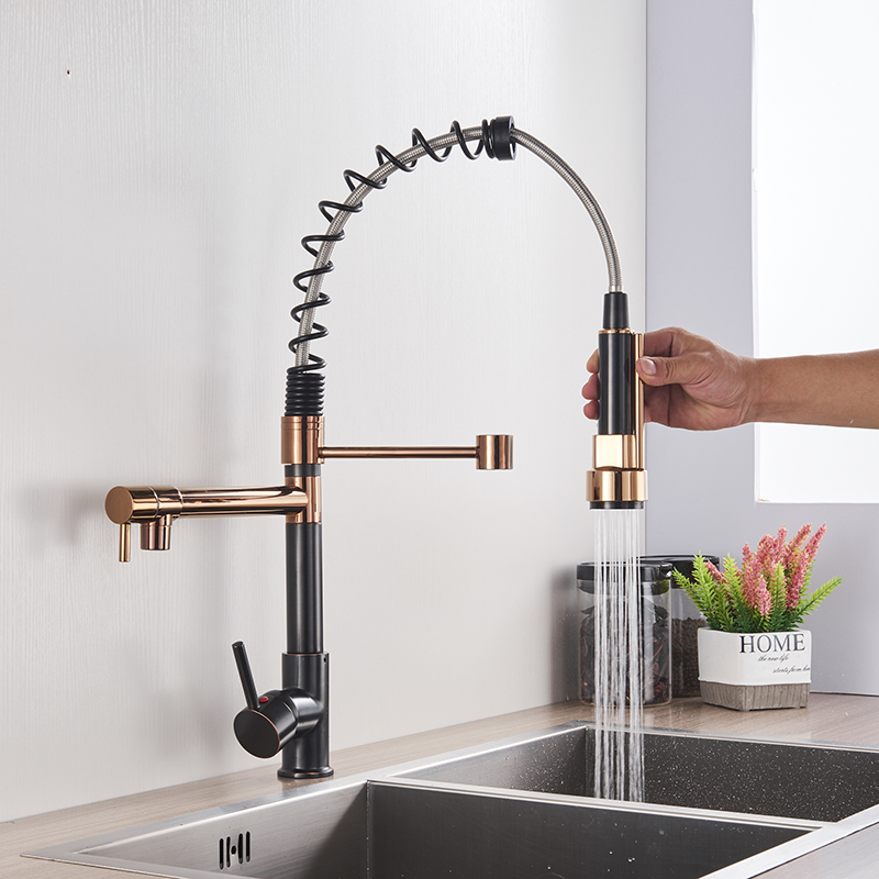H3a6a44e9901d425cb700753334e8dae8o Uythner Black Brass Kitchen Faucet Vessel Sink Mixer Tap Spring Dual Swivel Spouts Hot and Cold Water Mixer Tap Bathroom Faucets