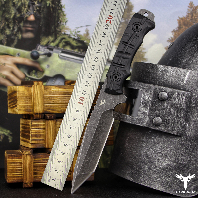 Tools : LENGREN DC53 steel 62hrc outdoor straight knife tactics retired self-defense with field survival sharp knife  hunting knife G10