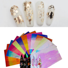 13pc Hexagon Design Nail Stickers Angel pattern Holographic Strip Tape Thin Laser Silver Stripe Sticker DIY Foil Decal