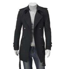 Lisa New Mens Wool coat  Autumn Trench Coat Men Double Breasted Woolen Long Jacket Man winter warm Outercoat