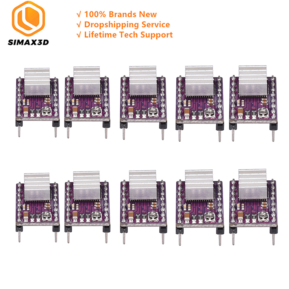 SIMAX3D 10pcs DRV8825 StepStick Stepper Motor Driver Module with Ramps 1.4 Reprap 4 PCB Board Replace Heatsink 10 for 3D Printer