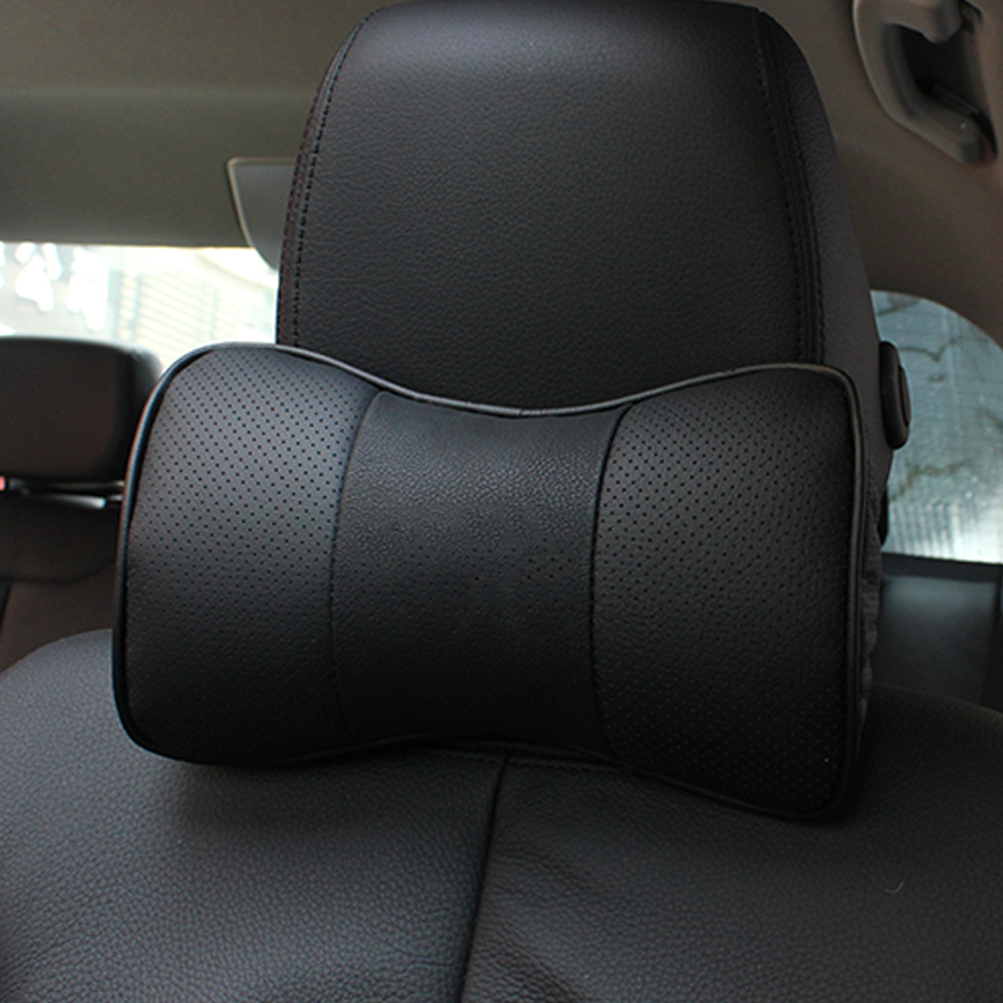 2Pcs Car Neck Pillow Genuine Leather Pillows Cushion Seat Head rest Neck protection Resting pillow For Audi kia Most cars