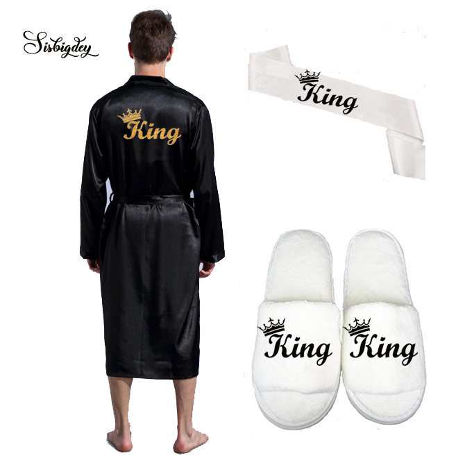 Sisbigdey King Robe Men Satin Robe Long Wedding Glitter Gold Black Slippers Bridal Sash Set Bridal Party 2020 Groom Kimono Robes