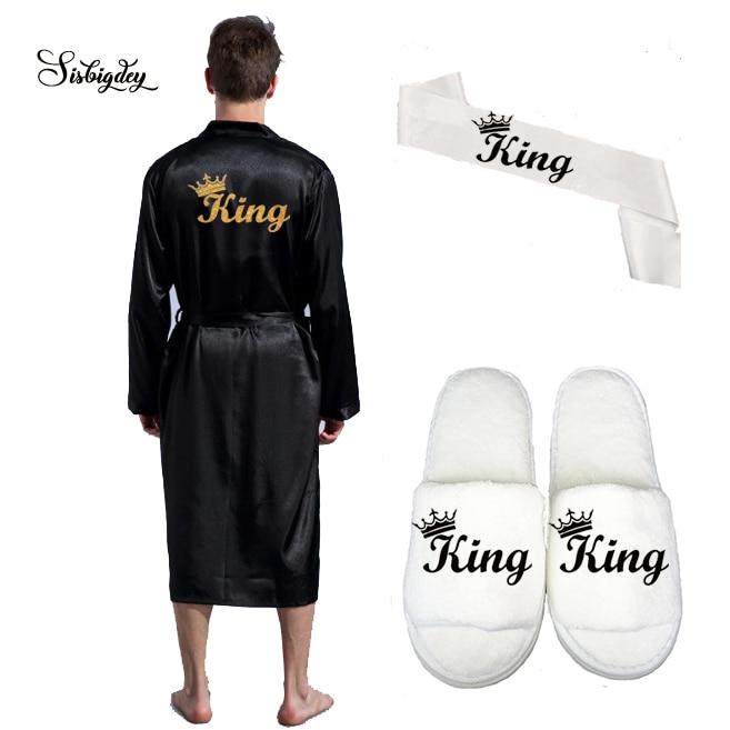 Sisbigdey King Robe Men Satin Robe Long Wedding Glitter Gold Black Slippers Bridal Sash Set Bridal Party 2020 Groom Kimono Robes