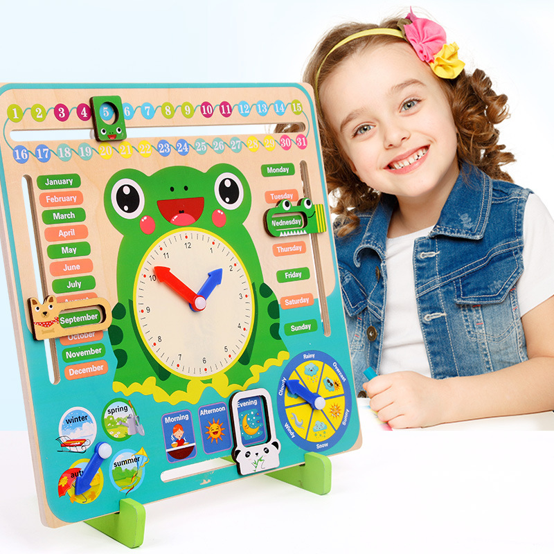 Wooden Toy Montessori Educational Weather Season Calendar Clock Time Baby Cognition Preschool Teaching Babi Toys For Children