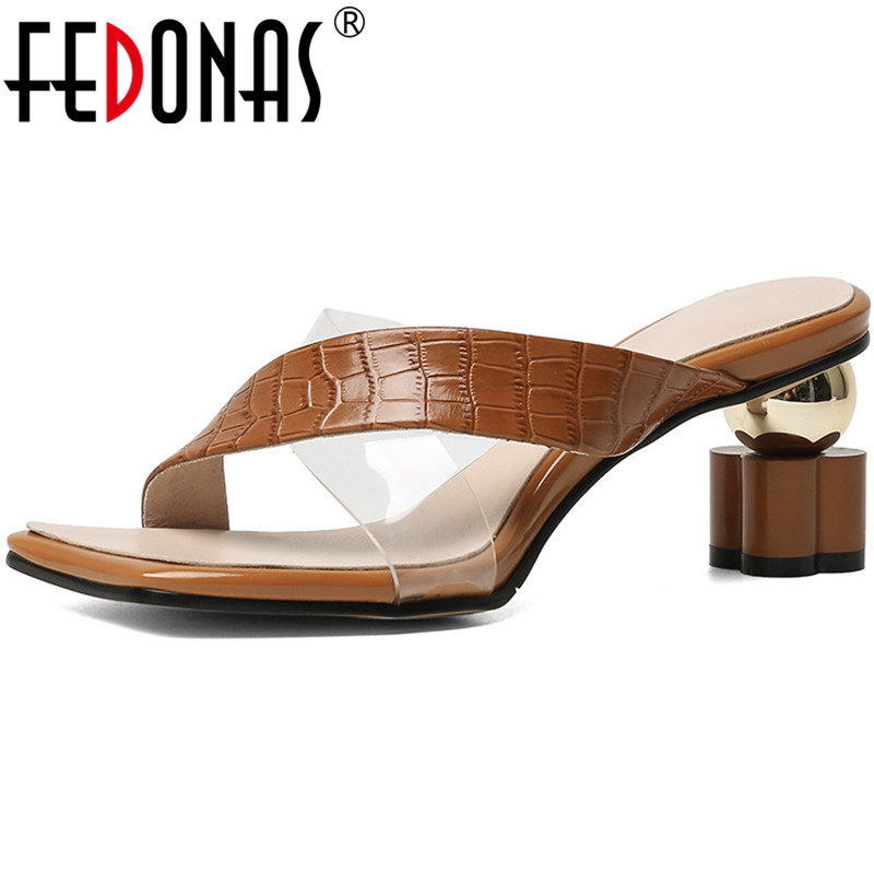 Fedonas sexy slingbacks chinelos femininos sandálias de couro genuíno para meninas moda saltos estranhos bombas casamento sapatos básicos mulher