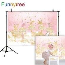 FunnytreeวันเกิดสำหรับสาวสีชมพูGlitter Princess Golden Ballet Starของขวัญภาพพื้นหลังProps Bannerตกแต่งไวนิล