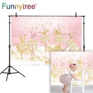 Funnytree fotografía bailarina telón de fondo rosa chica estrellas 1er cumpleaños foto de estudio decoración photophone photozone