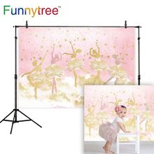 Funnytree photography ballerina dancer backdrop pink girl stars 1st birthday background photo studio decor photophone photozone