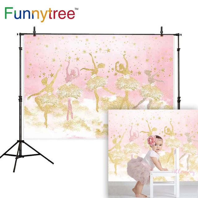 Funnytree photography ballerina dancer backdrop pink girl stars 1st birthday background photo studio decor photophone photozone