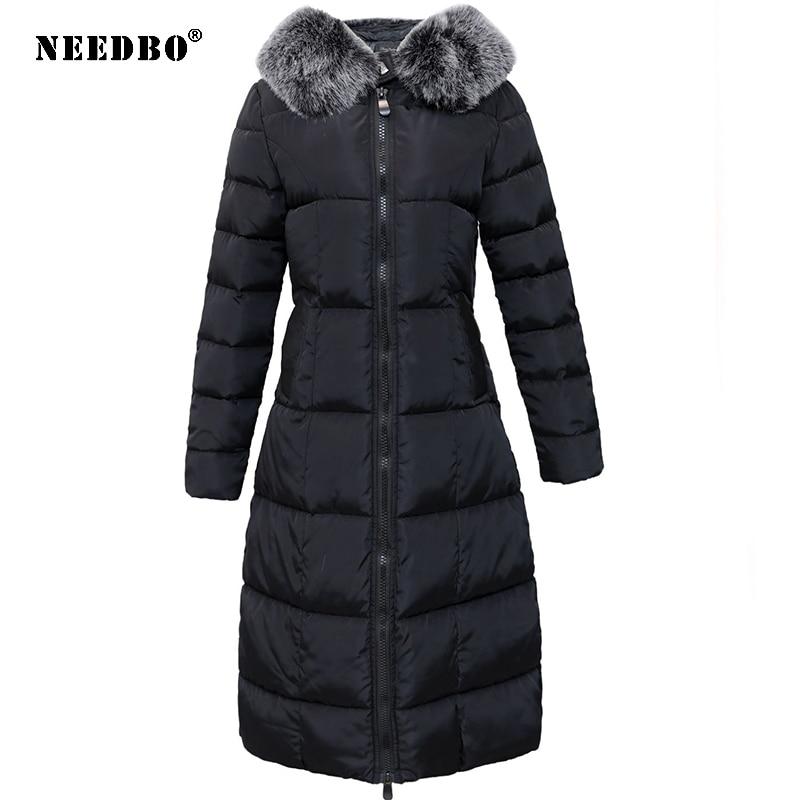 NEEDBO, зимняя куртка, Женское пальто, длинная парка, меховая парка с капюшоном, зимнее пальто для женщин, негабаритный пуховик, Casaco, теплая Женс...