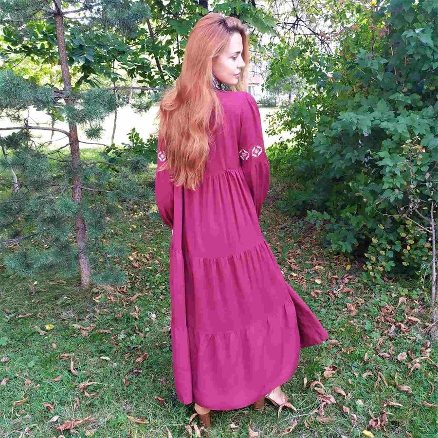 Siskakia Ethnic Geometric Embroidery Long Dress Autumn 2019 Women's Casual Maxi Dresses Long Sleeve Draped Swing Burgundy Fall (8)