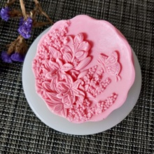 HC0127 PRZY Lily flower butterfly Soap Silicone Mold flowers Molds Clay Resin Gypsum Chocolate Candle Candy
