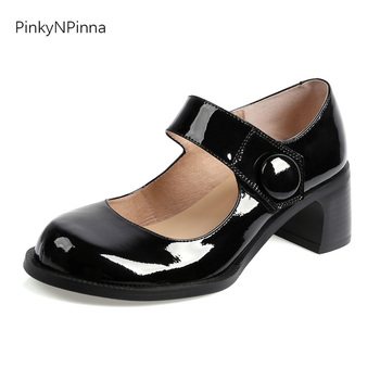 super cute women patent leather cowhide Mary Jane pumps high chunky heels sheepskin insole top quality sweet preppy party shoes