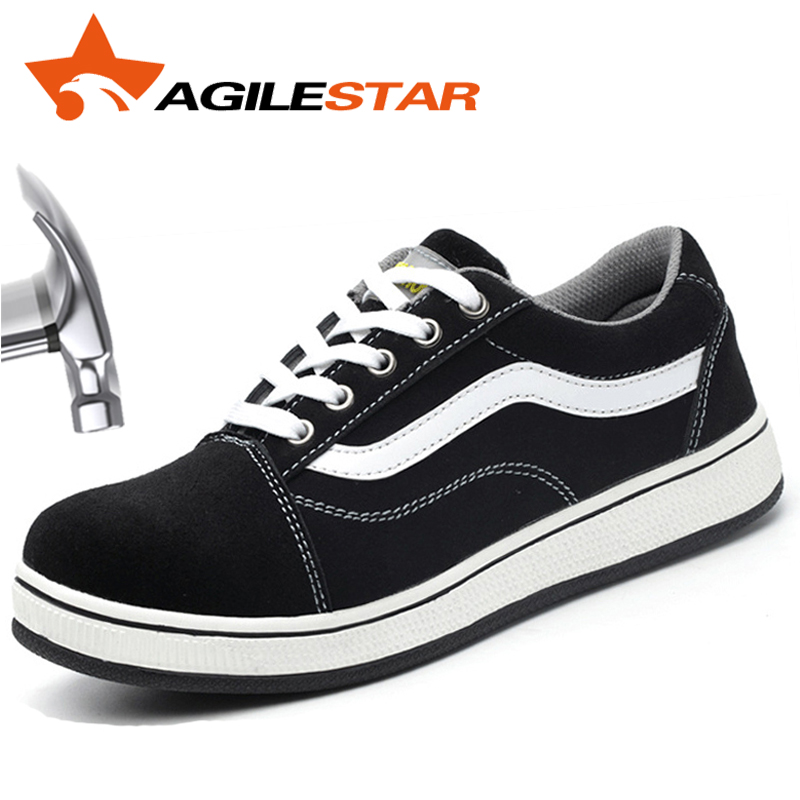 AGILESTAR Stylish Men Safty Shoes Steel Toe Slip Resistant Steal Plate Outdoors Anti Smashing Breathable Suede Safety Footwear