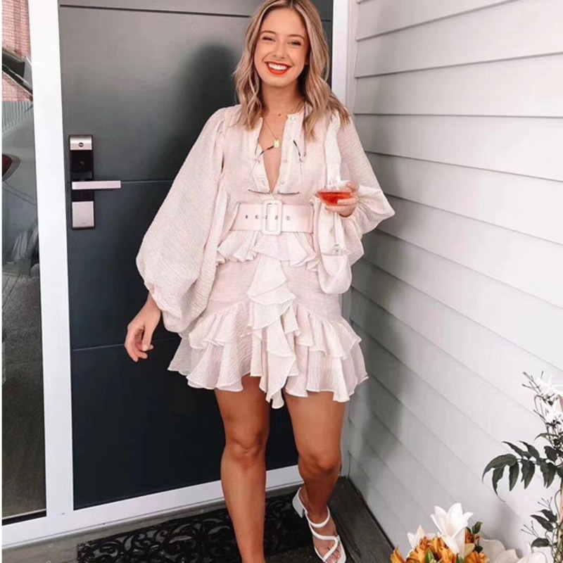 DEAT 2020 New Summer Fashion Women Clothing Round Neck Lantern Sleeves Ruffles Pleated Single Breasted Vintage Dress +belt WL846