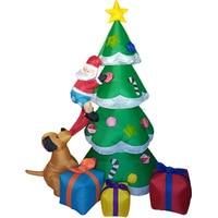 Christmas Tree Santa Inflatable LED Glowing Decoration Party Holiday DIY Props Xmas New Year Lantern Yard Art Decor Supplies