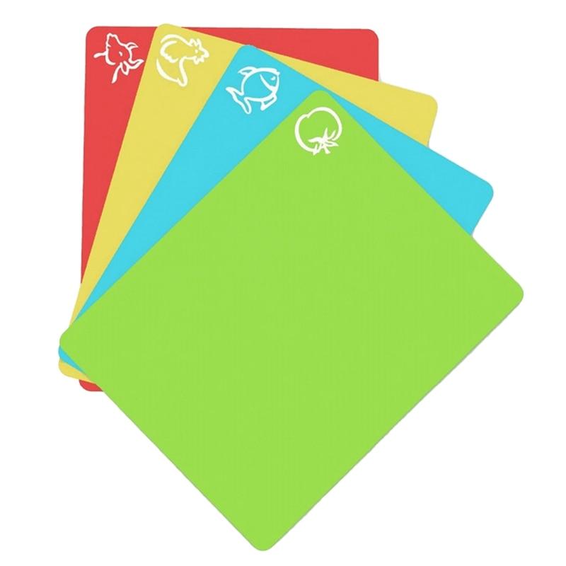 4Pcs/Set Extra Thick Flexible Non Slip Rectangle Plastic Cutting Mats Food Cutting Board Cutting Kitchen Tools|Chopping Blocks| |  - title=