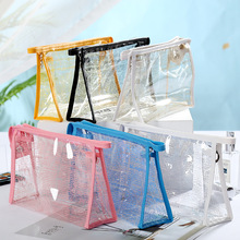 WULI SEVEN New Fashion Women Creative Newspaper Pattern Cosmetic Bag PVC Transparent Travel Wash Storage Case