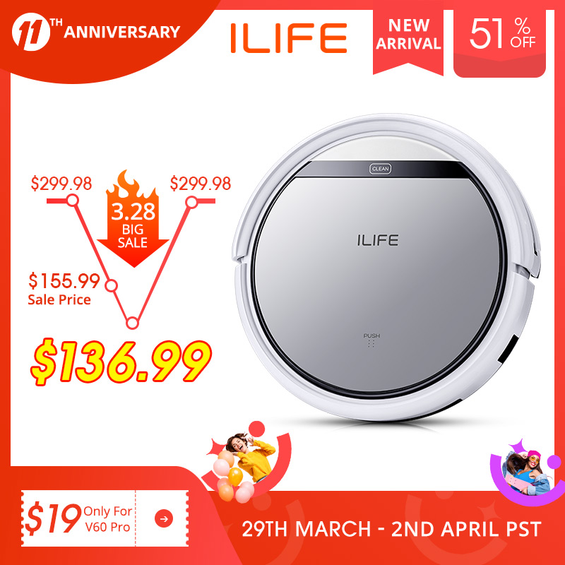 ILIFE V60 Pro Robot Vacuum Cleaner Sweep Wet Mopping Cleaning  Hard Floor automatic Powerful Suction Ultra Thin disinfection 1
