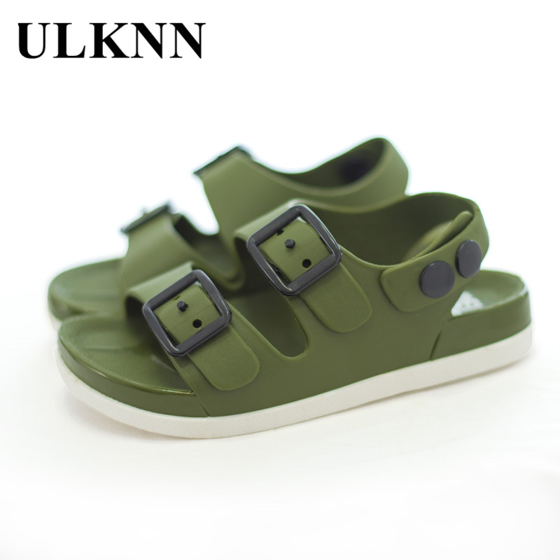 ULKNN New Summer Boys Sandals For Children Beach Shoes Kids Sports Soft Anti-slip Casual Toddler Baby PVC Leather Flat Sandals