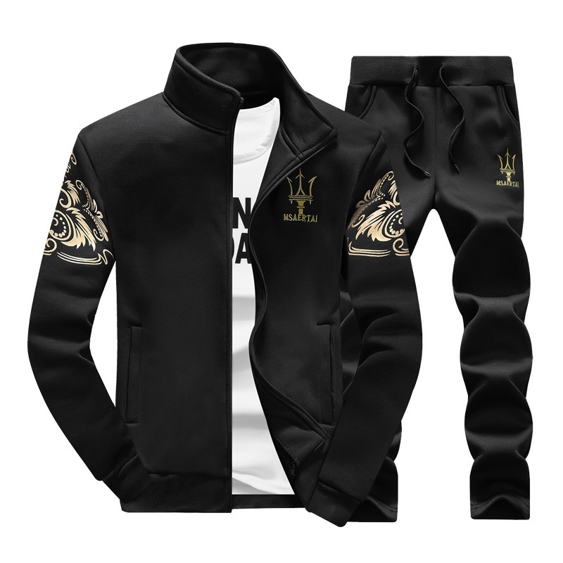 2016 Autumn & Winter Men Stand Collar Hoodie Korean-style Fashion Casual Printed Sports Set Men's