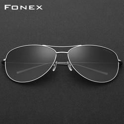 FONEX B Titanium Polarized Sunglasses Men Elastic Ultralight Sun Glasses for Women with Mirrored Gradient Lens 3001