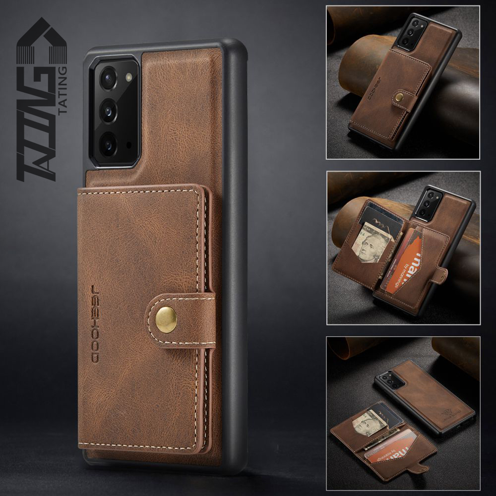 TATING Luxury Material Phone Case With Magnetic Sleeve for Samsung Galaxy S21 S21+ Ultra S Note A Leather Wallet Card Slot Bag