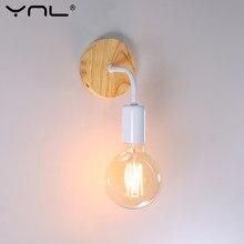 Nordic madeira lâmpada de parede do vintage arandela luzes de parede ferro e27 85-265v sala de jantar quarto luz decoração industrial luz de parede para casa