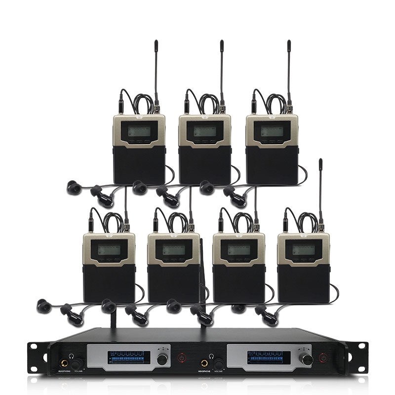 Bezprzewodowy system monitorowania dousznego, profesjonalny występ na scenie z 7 nadajnikami bodypack