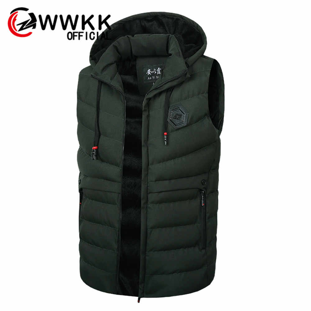 WWKK Vest Men Stylish Brand  Sleeveless Jacket Waistcoat Winter Fashion Padded Men's Vests Male Thicken Windproof Warm Waistcoat
