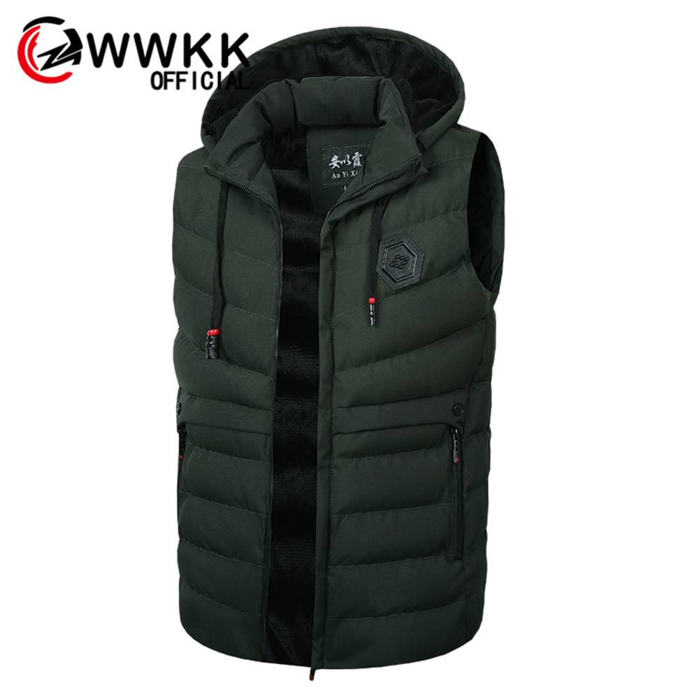 WWKK Vest Men Stylish Brand  Sleeveless Jacket Waistcoat Winter Fashion Padded Men's Vests Male Thicken Windproof Warm Waistcoat