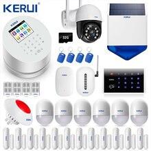 KERUI W2 WiFi GSM PSTN RFID Control 2.4 inch TFT Color Display Home Burglar Alarm System 3MP Wifi IP Camera Solar siren